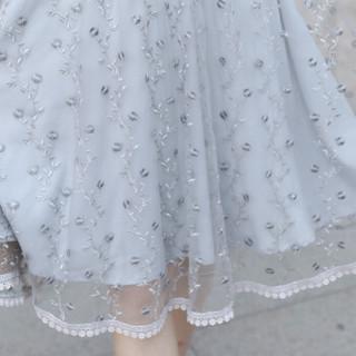 丝柏舍春装新款女装时尚韩版短袖收腰修身大摆印花中长款连衣裙 S81R0960LA11L 灰色 L