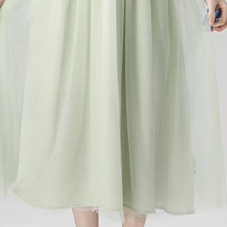 丝柏舍春装新款女装韩版纯色圆领短袖收腰气质优雅中长款连衣裙 S81R0957LA142S 浅绿色 S