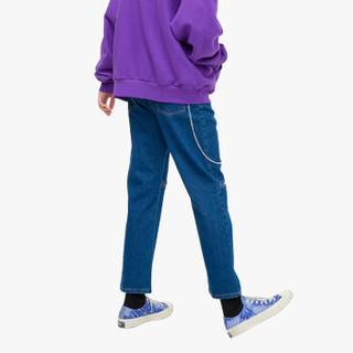 威秀 viishow 2019春季新品牛仔裤男 潮牌男士拼接直筒裤学生休闲长裤NC1187191 牛仔蓝 L