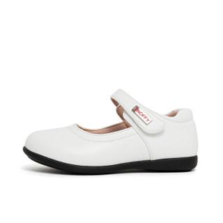 斯纳菲女童皮鞋 儿童真皮黑色公主鞋女孩单鞋新款小皮鞋18848白色33