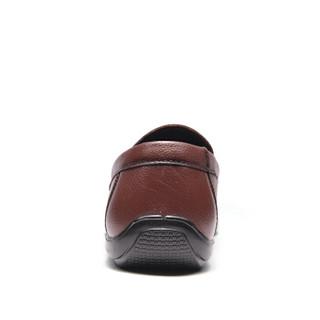 Fuguiniao 富贵鸟 套脚男鞋头层牛皮商务休闲日常百搭 S994993 暗棕 39