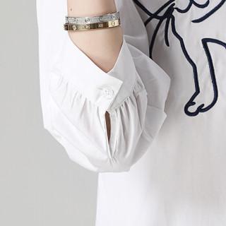 丝柏舍2019春装新款女装时尚韩版可爱小动物清新chic碎花衬衫上衣 S81T1017CA7XL 白色 XL