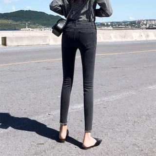 俞兆林 2019春季新款韩版修身小脚裤休闲百搭铅笔牛仔裤女 YWKN191458 灰色 29