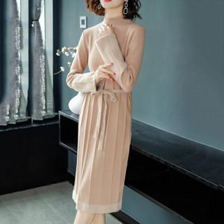 尚格帛 冬季新品女装拼接针织连衣裙 系带中长款A字裙时尚半高领毛衣裙 LLYQ349-8873GB 黑色 L