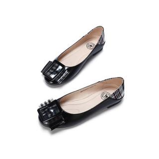 骆驼 A91025670 女士 摩登大气方扣格子布混搭套脚单鞋 A91025670 黑色 36