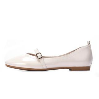CAMEL 骆驼 女士 复古气质方扣饰带方头芭蕾舞鞋 A91893632 米白 36