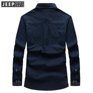 吉普男装JEEP 男士衬衫男款棉纯色长袖衬衣商务外穿上衣 RSC017 卡其色 L