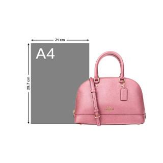 COACH 蔻驰 女士皮质纯色拉链手提包F29170IMO28 桃粉色