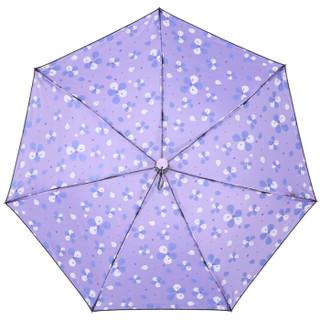 天堂伞 聆听花开碰击黑胶三折小黑伞晴雨伞33509E紫藤色