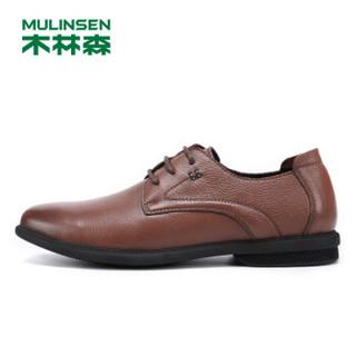 MULINSEN 木林森 韩版时尚简约头层牛皮商务休闲男皮鞋 SS97121 浅棕 40码