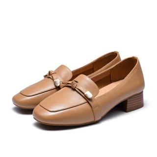 Fuguiniao 富贵鸟 女士单鞋方头通勤浅口粗跟休闲百搭F953301C 土黄 40
