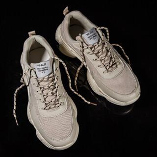 COSO ins超火的网红老爹复古百搭厚底耐磨运动休闲鞋 K07-DY30 米色 40