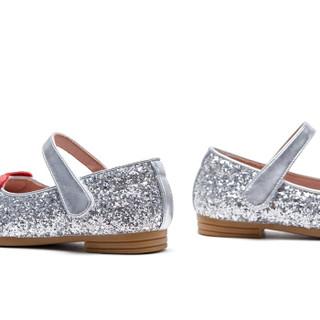 斯纳菲童鞋女童皮鞋新款公主鞋休闲皮鞋潮童韩版单鞋18850银色28