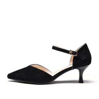 Fuguiniao 富贵鸟 性感女士单鞋细跟鱼嘴一字扣带中空时尚K99P050S 黑色 37