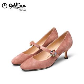 goldlion 金利来 女士圆头细高跟浅口玛丽珍单鞋62091008083P-粉色-38码