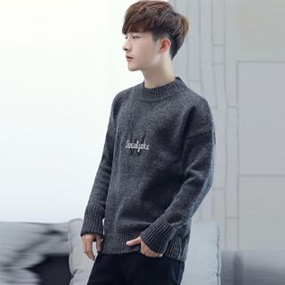 金盾(KIN DON)针织衫 新款男士时尚潮流加厚保暖圆领毛衣211-1-M9180深灰色L
