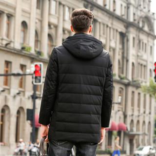 恒源祥羽绒服男士冬季新款修身90%白鸭绒加厚保暖外套 黑色 3XL(190/104A)
