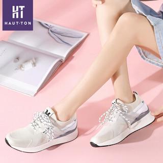 Haut Ton 皓顿 休闲小白鞋女潮流时尚系带运动板NXYD021 白色 36