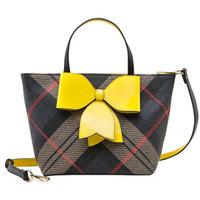 ELLE 她 女包单肩包复古学院风蝴蝶结装饰斜跨手提包E28F1382032YW黄色