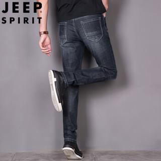 吉普(JEEP)牛仔裤男2019春季新款修身青春休闲男士弹力小脚裤蓝灰色 34 1102JEEP