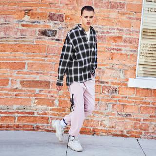 森马/semir旗下品牌爱肯 Aiken 2019春季新款 男装格纹长袖衬衫AK119051301 黑白色调 M