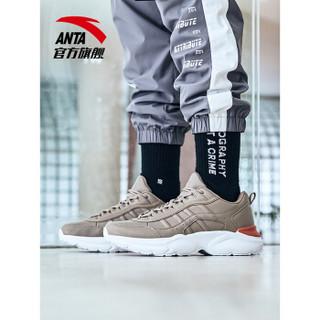 ANTA 安踏 91848863 男子白色潮流休闲鞋时尚小白鞋运动鞋 亚麻灰/白 7.5(男40.5)