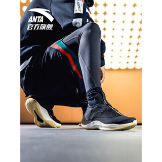 ANTA 安踏 篮球系列 11841303  皮面休闲运动鞋高帮战靴球鞋 黑/燕麦灰/象牙白 7(男40)