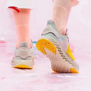 ANTA 安踏 跑步系列 11915551 男鞋 2019年新款男子跑鞋潮流拼接撞色轻便绑带男跑鞋 二度灰/豆绿/姜黄 8.5(女40)