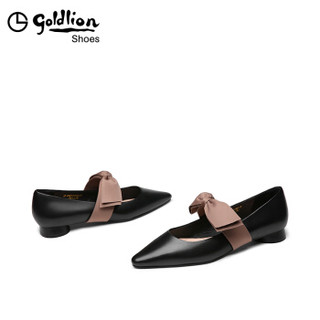 goldlion 金利来 女士尖头粗低跟休闲浅口玛丽珍工作单鞋61991005901P-黑色-34码