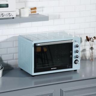 柏翠(petrus)电烤箱 62L大容量 家用商用 多种功能 智能预热 上下独立控温  PE3060(蓝)