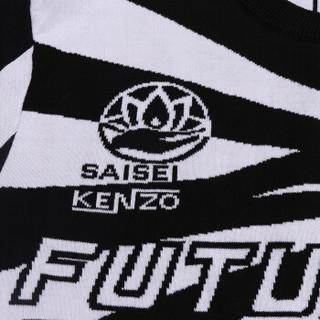 KENZO 高田贤三 男士黑配白色棉质圆领长袖针织衫 F85 5PU228 3CE 99 M码