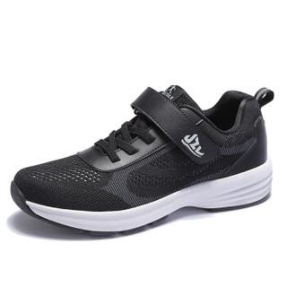 健足乐 健步防滑透气老人舒适清爽爸爸鞋 J922363003 黑色 40