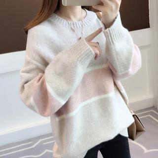 朗悦女装 2018秋冬新款韩版套头针织衫女宽松拼色长袖毛衣LWYC18J101 粉色 均码
