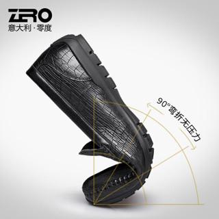 ZERO 男士时尚简约头层牛皮柔软舒适豆豆驾车休闲皮鞋 Z91905 黑色 41码