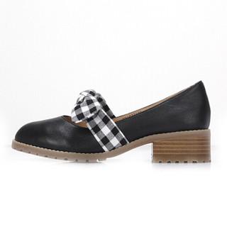 CAMEL 骆驼 女士 甜美格纹蝴蝶结牛皮低跟单鞋 A91027626 黑/花 38