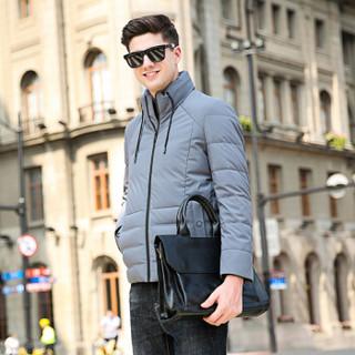 恒源祥羽绒服男装冬季加厚白鸭绒外套立领上衣 灰色 XL(180/96A)