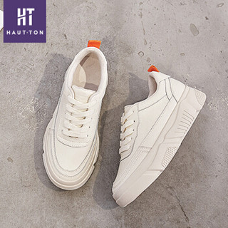 Haut Ton 皓顿 皓顿(HAUT TON)休闲小白鞋女平底潮流时尚系带运动板NXYD001 米白色 38
