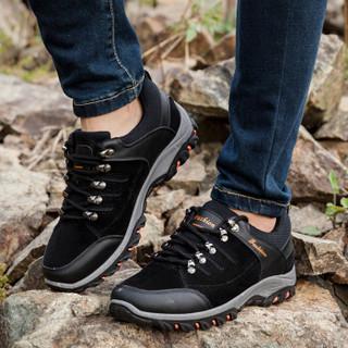 APPLE 苹果鞋 男士户外运动登山透气耐磨软底厚底休闲鞋子 SK02 黑色 43