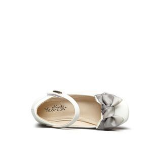 意尔康童鞋2019春季新款女童皮鞋单鞋甜美蝴蝶结学生公主鞋女童鞋ECZ9123650 米白色 35