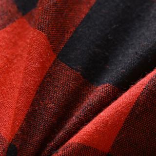 雅鹿 衬衫男士2019新款韩版格子保暖舒适长袖衬衣男装青年休闲寸衫潮  CS-S80 红黑格子 4XL