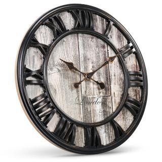 码仕 挂钟钟表客厅静音个性石英钟北美创意复古挂表大时钟 16寸黑罗马字W1361BF