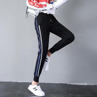 朗悦女装 休闲裤女2019春季新款韩版小脚运动裤学生宽松卫裤LWKX187203T 蓝色 M