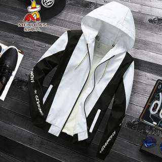 稻草人(MEXICAN)夹克男简约时尚拼色男装外套青少年休闲印花连帽衫 J1906 黑色 XL