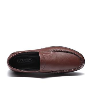 Fuguiniao 富贵鸟 男士皮鞋商务休闲圆头英伦时尚百搭 S994339 棕色 40