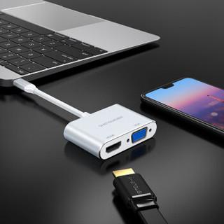 胜为(shengwei)Type-C转HDMI/VGA高清线转换器 适用苹果电脑扩展坞MacBook投影仪USB-C投屏器转接头 DS-102