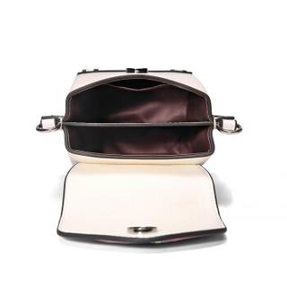 L'ALPINA 阿尔皮纳 撞色牛皮手机包女包活力链条单肩包女靓丽小方包时尚斜挎包女 684S031017粉配白