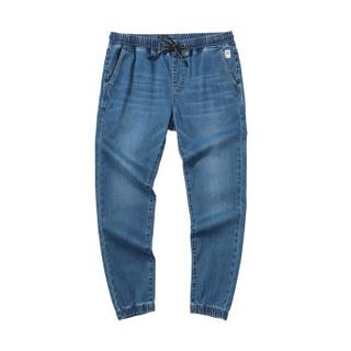 森马semir旗下品牌爱肯Aiken2019春季男款慢跑牛仔长裤AK119201911牛仔中蓝L