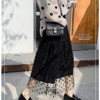 朗悦女装 2019春季新款半身裙女韩版复古百褶网纱蛋糕裙LWQZ191189 黑色 均码