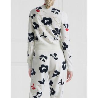 BARRIE女士Moon Flowers系列印花长袖毛衣开衫 白色花纹 国际通用码