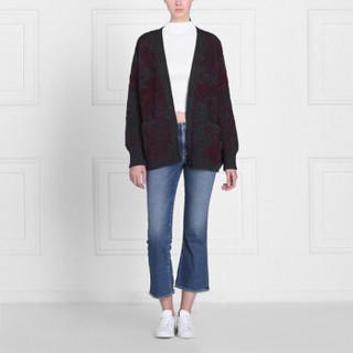 BARRIE 女士STENCIL GARDEN 系列阔型长袖印花羊绒开衫 酒红花色 S